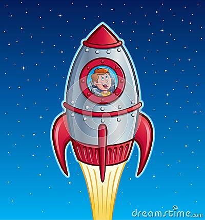 Rocket Ship Boy Stock Photo