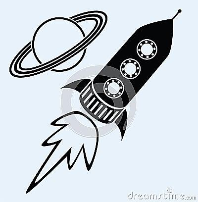 Rocket ship and planet saturn symbols
