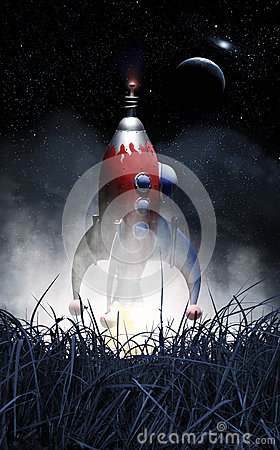 Free Rocket Spaceship Take Off Royalty Free Stock Photography - 35646337