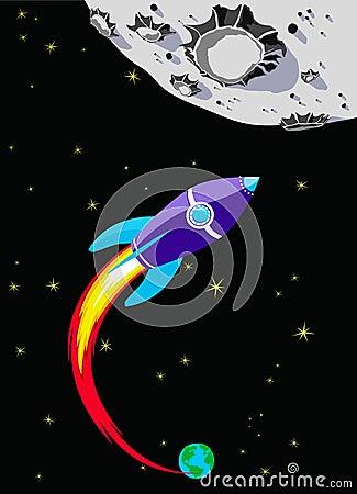 Free Rocket Spaceship To The Moon Royalty Free Stock Photo - 17875775