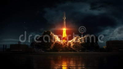 Rocket Takeoff. Rocket launch from a spaceport
