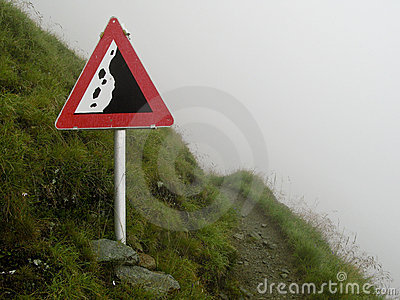 Rockfall sign in the alps