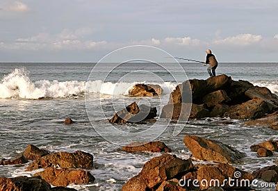 Rock fishing Editorial Photography