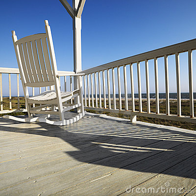 Rocking chair on porch.