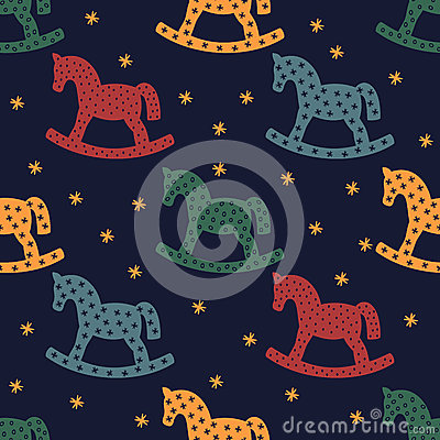 Free Rocking Horse Silhouette. Seamless Pattern With Rocking Horses On Dark Blue Background. Stock Photography - 59232012