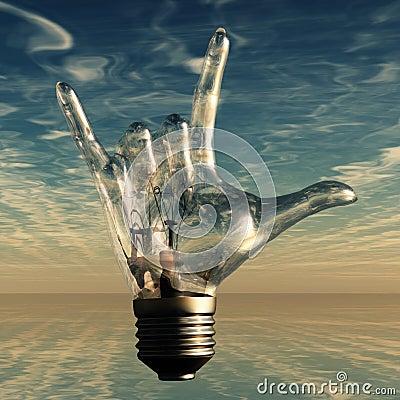 Rockowa n rolka uzbrajać w rogi lightbulb