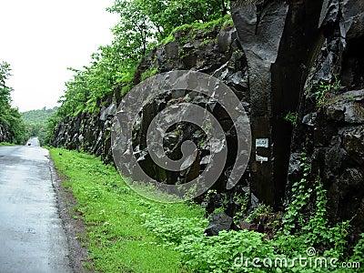 Rocks alongside road