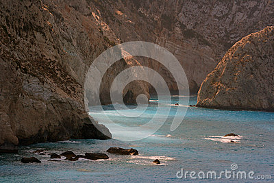 Rocks and blue waters