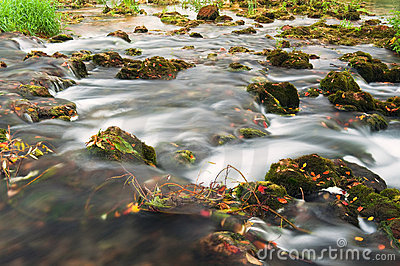 Rocks covered with moss and river stream