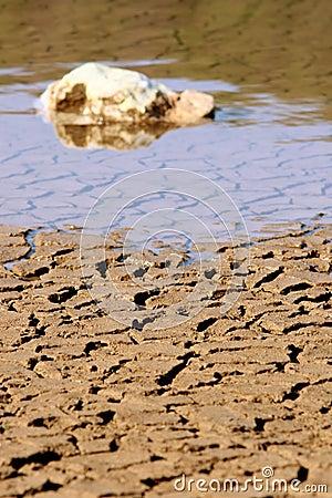 Rocks on cracked ground