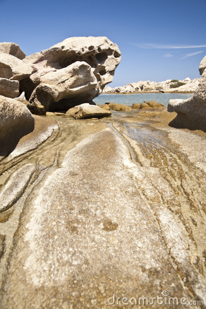 Rocks eroded by water and wind