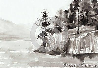 Rocks and lake