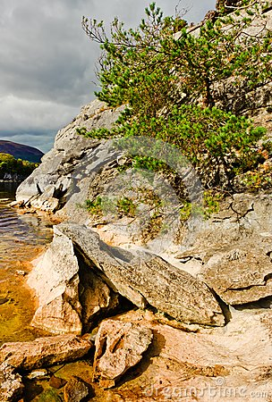 Rocks by lake, Killarney Ireland