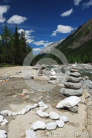 Rocks near the mountain river