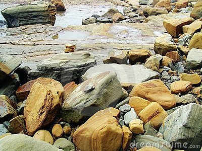 Rocks on pacific shoreline