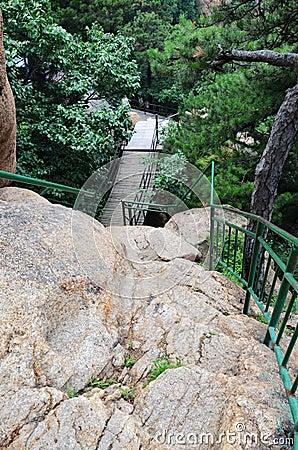 Rocks and railings
