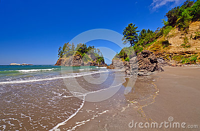 Rocks and sand on a Pacific Coast Beach