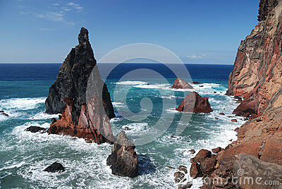 Rocks on sao lourenco, maderia, portugal