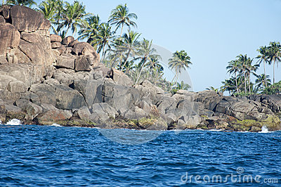 The rocks and seashore of Unawatuna, Sri Lanka