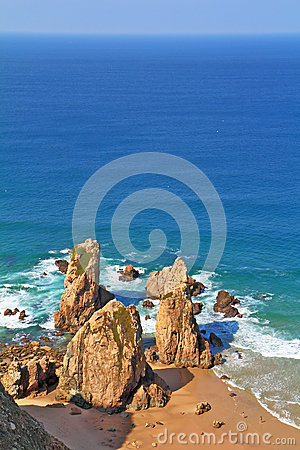 The  rocks on the shore of the Atlantic Ocean
