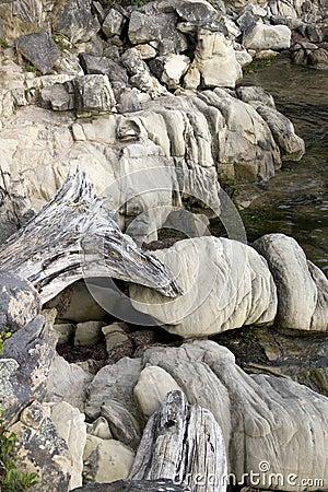 Rocks on shoreline