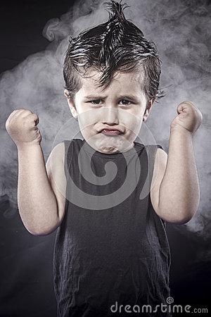 Free Rockstar, Child Rocker Dress And Funny Expressions Crested Royalty Free Stock Photo - 34794925