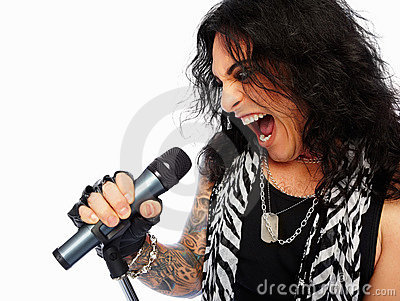Rockstar singing on a mic