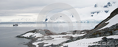 Rocky beach in Antarctica