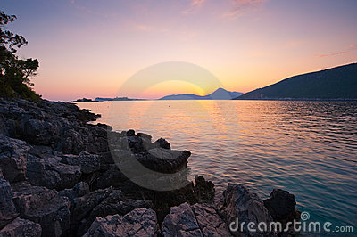 Rocky beach landscape sunset in Montenegro