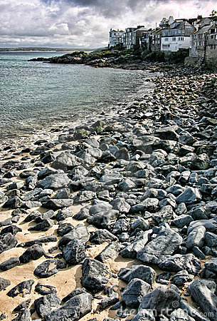 Rocky beach in Saint Ives, Cornwall, England