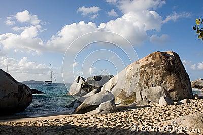 Rocky beach shoreline