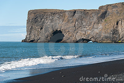 Rocky cliff  in Iceland
