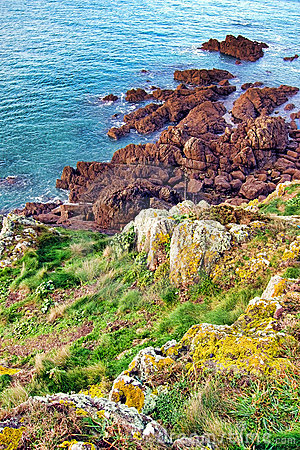 Rocky Cliff and Moorland in Brittany France