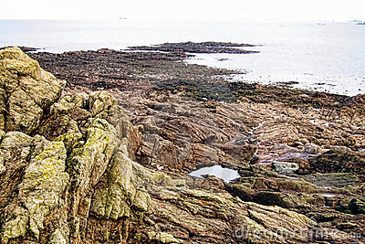Rocky Cliff and over the Sea in Brittany France