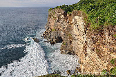 Rocky coast near Uluwatu temple on Bali