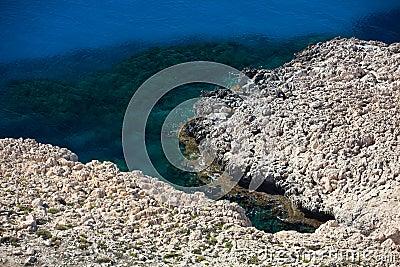 Rocky coastline on Cyprus.
