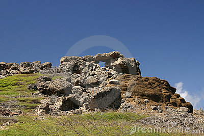 Rocky hilltop with structure