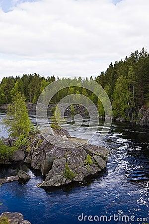 Rocky island on Lower Vyg river