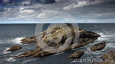 Rocky Island Near the Seashore of Scotland