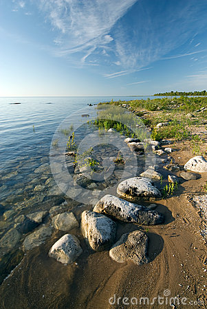 Rocky Lake Huron shoreline at De Tour State Park