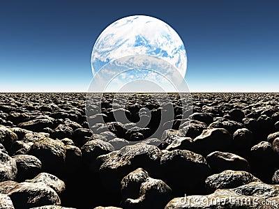 Rocky Landscape med planeten eller den terraformed månen i th