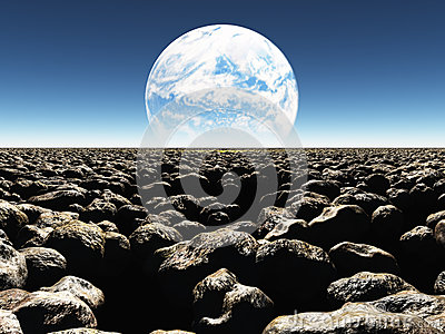 Rocky Landscape met planeet of terraformed maan in Th