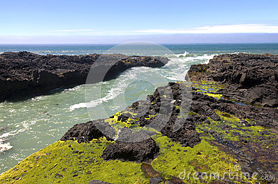 Rocky lava shoreline, Oregon coast.