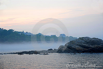 Rocky misty coast