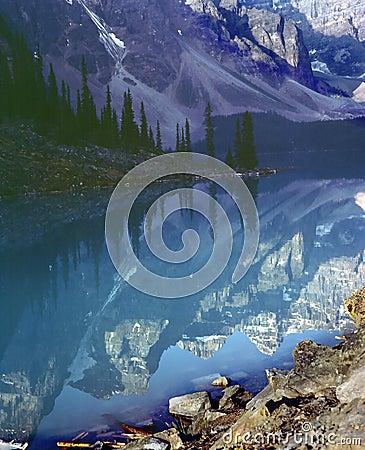 Rocky Mountain Lake Reflection Banff Alberta Canad