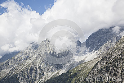 Rocky mountain peaks in Austrian/Italian Alps.