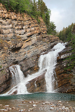 Rocky Mountain Waterfall - Waterton, Alberta