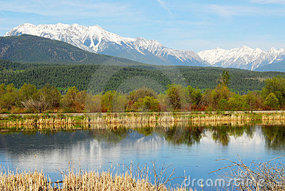 Rocky mountains and river