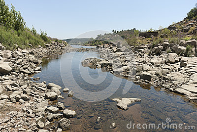 Rocky riverbank