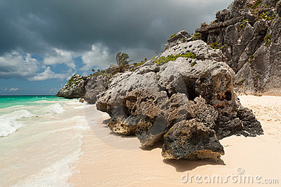 Rocky scenery of Tulum beach